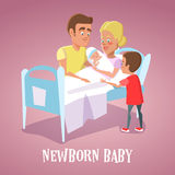 Happy Mother Holding Newborn Baby in Hospital Room. Family Welcomes Newborn Child Stock Photos