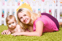 Happy mother hugs child Stock Photo