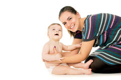 Happy mother keeps small child Stock Photos