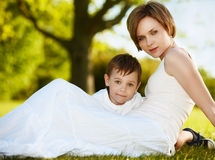 Happy mother with a kid Royalty Free Stock Image