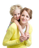 Happy mother and kid isolated on white background Stock Photo