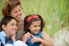 Happy mother and kids stock photo