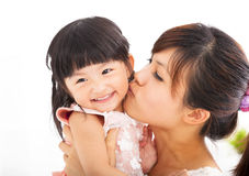 Happy Mother kissing  daughter Stock Image