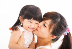 Happy Mother kissing her daughter royalty free stock photo