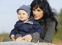 Happy mother and little boy stock images