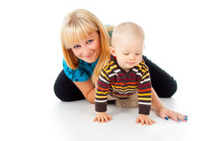 Happy mother and little child playing Stock Photo