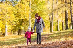 Happy mother and little daughter at autumn park Royalty Free Stock Photography