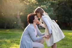 Happy mother and little daughter looking at each other, little girl holding mother`s cheek, mother`s day concept royalty free stock photo