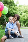 Happy mother and little son Stock Photo