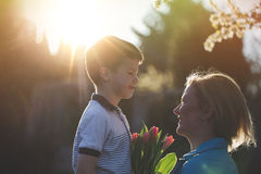 Happy mother with little son and tulips in sunset Royalty Free Stock Images