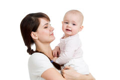 Happy mother looking at her baby girl isolated Royalty Free Stock Photos