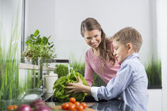 Happy mother looking at son washing vegetables in kitchen Stock Images