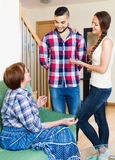 Happy mother meets girlfriend of his son Royalty Free Stock Photos