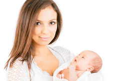 Happy mother with  newborn baby  isolated. Happy mother with  newborn baby girl   isolated Stock Photography