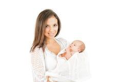 Happy mother  newborn baby  isolated Stock Image
