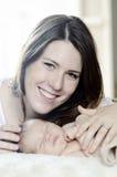 Happy mother and newborn baby stock photo