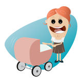 Happy mother with pram. Illustration of a happy mother with pram Stock Images