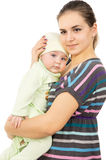 A happy mother of presses her baby to yourself Stock Photo