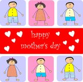 Happy mother's day. Colorful background of children with happy mother's day text and hearts representing mother's day stock illustration