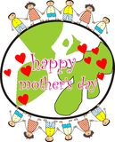 Happy mother's day. Colorful background of children with happy mother's day text and hearts representing mother's day vector illustration