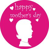 Happy mother's day. Woman silhouette representing mother's day with a text royalty free illustration