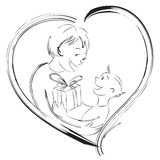 Happy Mother's Day. Vector illustration of a child giving present to his mom vector illustration