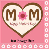 Happy Mother's Day. Card with heart and flowers Stock Images
