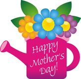 Happy Mother's day. Note in a flower vase Stock Photos