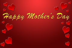 Happy Mother's Day. Greeting note with red background and hearts borders Royalty Free Stock Photography