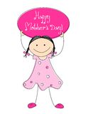 Happy Mother's day. Cute little kid [girl] holding a board with happy mother's day text. Mother's day greeting card Royalty Free Stock Photo