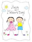 Happy Mother's day. Cute little girl and boy holding flowers with Happy mothers day text. Mother's day greeting card Royalty Free Stock Photo