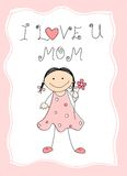 Happy Mother's day. Cute little kid [girl] holding a flower with I love you mom text. Mother's day greeting card Royalty Free Stock Images