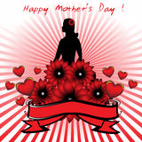 Happy Mother's Day. Abstract colorful background with red banner and flowers in front of a woman's silhouette. Mother's Day theme Royalty Free Stock Photography