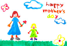 Happy mother's day. Hand Drawn water color painting for Mother's Day Stock Image