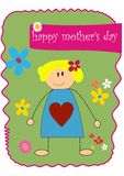 Happy Mother's Day. Cartoon drawing of a mother with a big heart, flowers and the words Happy Mother's Day royalty free illustration