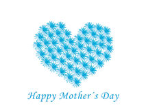 Happy mother's day. Card for mother's day with a heart make with blue flowers Royalty Free Stock Images