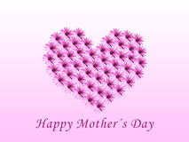 Happy mother's day. Card for mother's day with a heart make with flowers Royalty Free Stock Photography