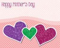 Happy mother's day. Card with hearts and dotted background Royalty Free Stock Photos