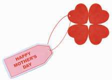 Happy mother's day. With red hearts tag Stock Photography