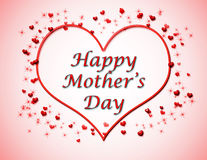 Happy Mother's Day Background. Background with pink and white gradient, hearts and sparkles, and the greeting Happy Mother's Day stock illustration