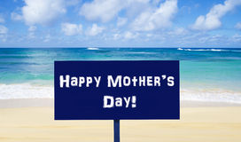 Happy Mother`s day background on the beach Royalty Free Stock Photos