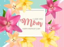 Happy Mother s Day Background with Flowers. Vector Illustration. EPS10 Stock Photography