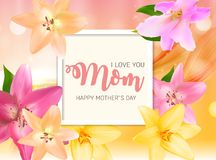 Happy Mother s Day Background with Flowers. Vector Illustration. EPS10 Royalty Free Stock Photo