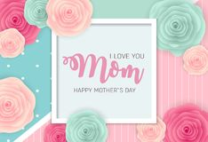 Happy Mother s Day Background with Flowers. Vector Illustration. EPS10 Stock Photo
