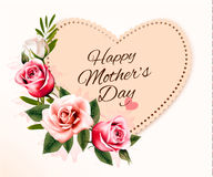 Happy Mother`s Day background with a heart-shaped card and color Royalty Free Stock Photo