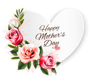 Happy Mother`s Day background with a heart-shaped card and color Royalty Free Stock Photography