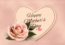 Happy Mother`s Day background with a heart-shaped card Stock Photography