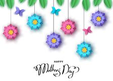 Happy mother`s day background  with paper cut  flowers, butterfl. Happy mother`s day banner  with paper cut  flowers, butterflies, lettering. Summer or spring Stock Photography