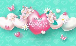 Happy Mother`s Day - banner. Beautiful Background with flowers,butterflies and hearts. Vector Illustration.  Vector Illustration