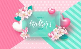 Happy Mother`s Day - banner. Beautiful Background with flowers and hearts. Vector Illustration.  Royalty Free Stock Images